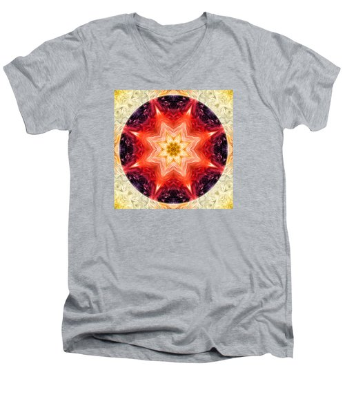 Rainbow Burst Mandala Men's V-Neck T-Shirt