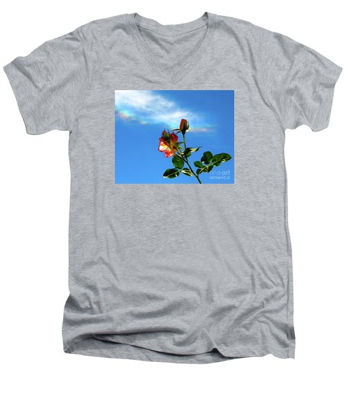 Rainbow Cloud And Sunlit Roses Men's V-Neck T-Shirt by CML Brown