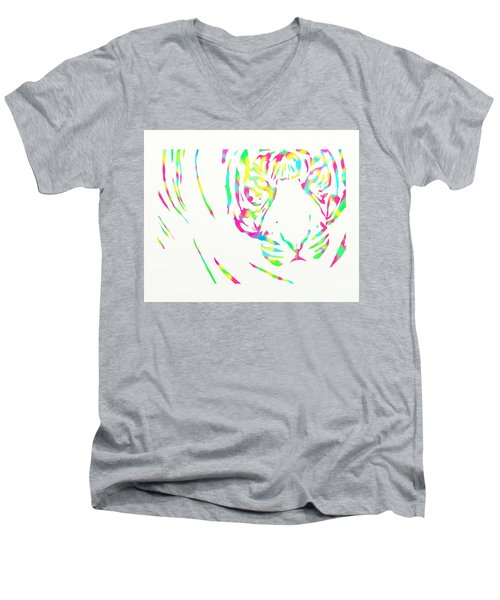 Rainbow Coloured Tiger Men's V-Neck T-Shirt