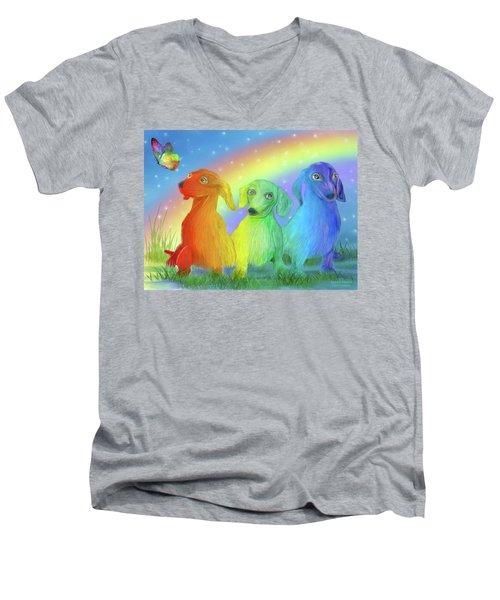 Men's V-Neck T-Shirt featuring the mixed media Rainbow Doxies 2 by Carol Cavalaris