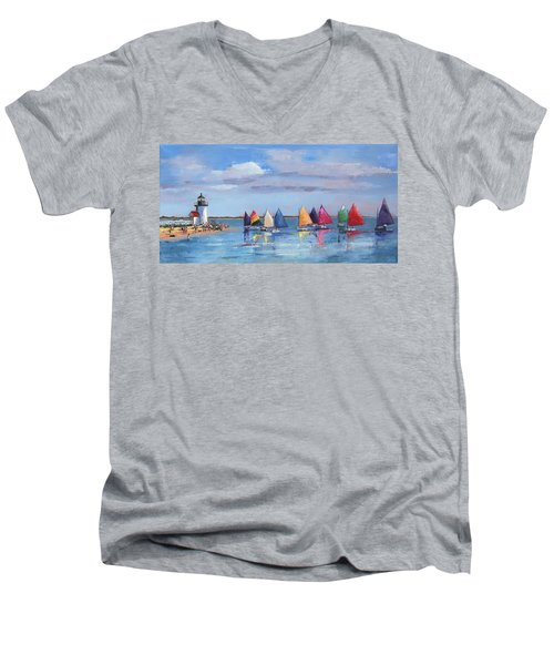 Rainbow Fleet Parade At Brant Point Men's V-Neck T-Shirt