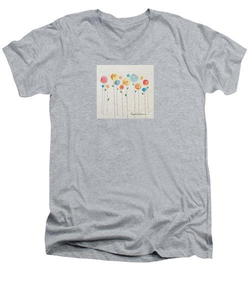 Rainbow Floral Men's V-Neck T-Shirt