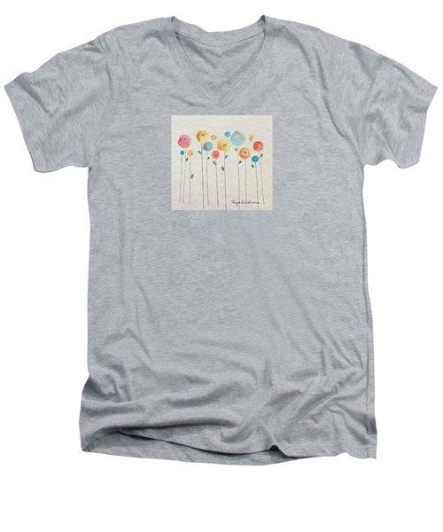 Rainbow Floral Men's V-Neck T-Shirt