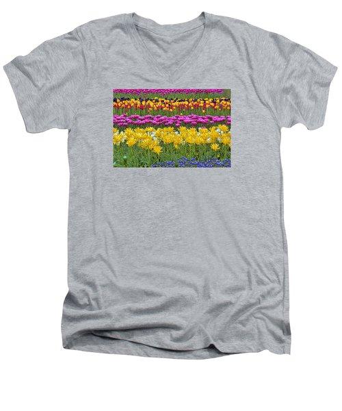 Rainbow Flowers Men's V-Neck T-Shirt by Nadia Sanowar