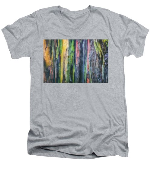 Men's V-Neck T-Shirt featuring the photograph Rainbow Forest by Ryan Manuel