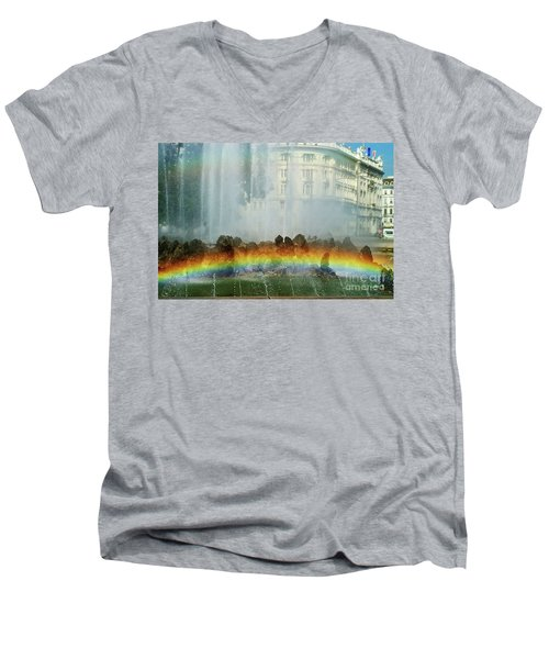 Men's V-Neck T-Shirt featuring the photograph Rainbow Fountain In Vienna by Mariola Bitner