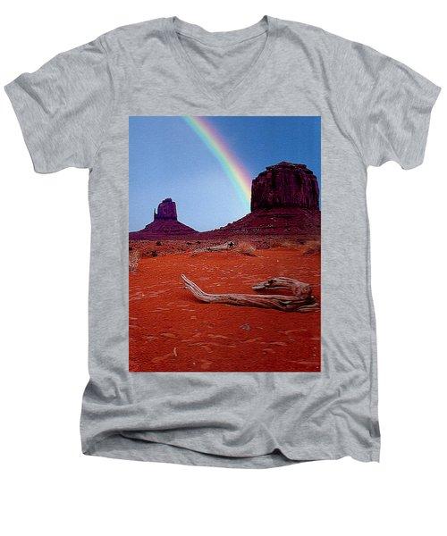 Rainbow In Monument Valley Arizona Men's V-Neck T-Shirt by Merton Allen
