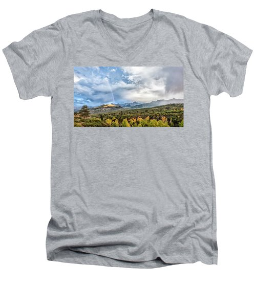 Men's V-Neck T-Shirt featuring the photograph Rainbow In The San Juan Mountains by Jon Glaser