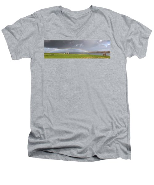 Men's V-Neck T-Shirt featuring the photograph Rainbow, Island Of Iona, Scotland by John Short