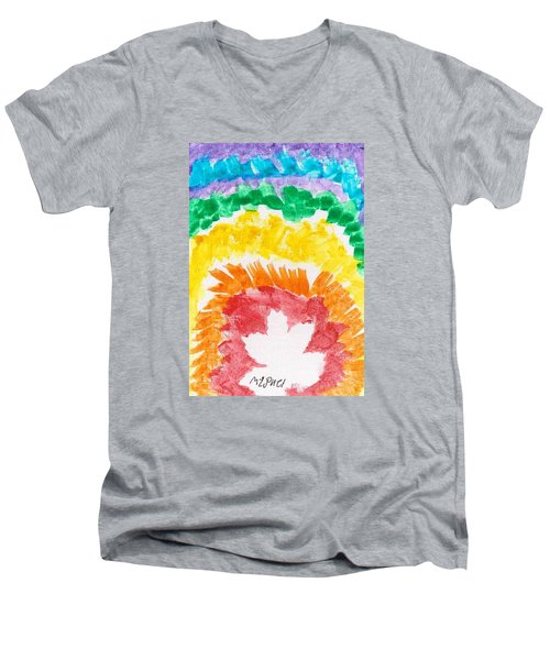 Men's V-Neck T-Shirt featuring the painting Rainbow Leaf by Artists With Autism Inc