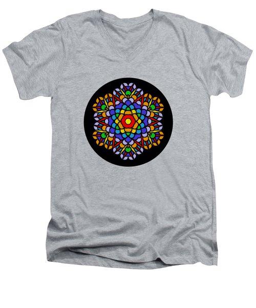 Rainbow Mandala By Kaye Menner Men's V-Neck T-Shirt by Kaye Menner