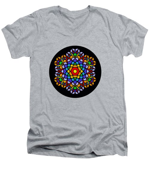 Rainbow Mandala By Kaye Menner Men's V-Neck T-Shirt