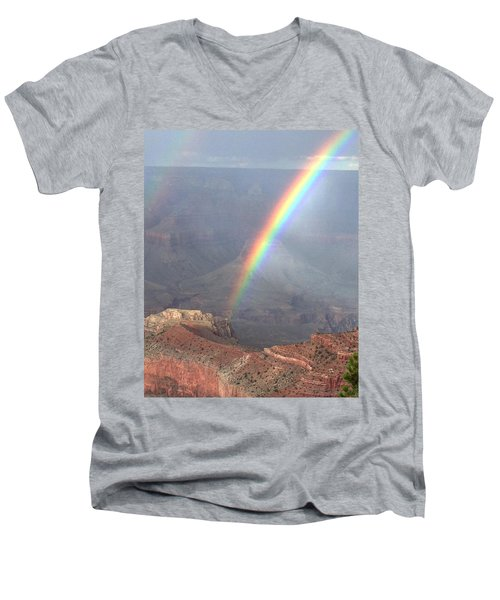 Rainbow Meets Mather Point Men's V-Neck T-Shirt