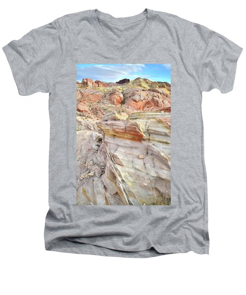 Rainbow Of Color At Valley Of Fire Men's V-Neck T-Shirt by Ray Mathis