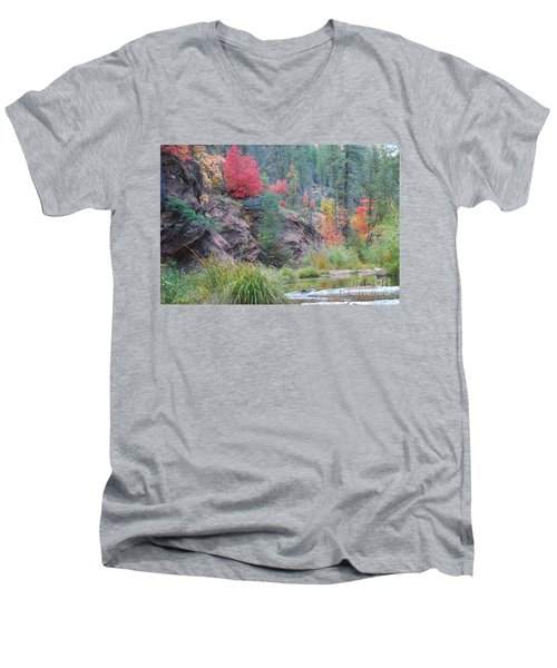 Rainbow Of The Season With River Men's V-Neck T-Shirt by Heather Kirk