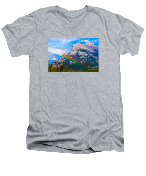 Rainbow On Mt Rundle Men's V-Neck T-Shirt by John Roberts