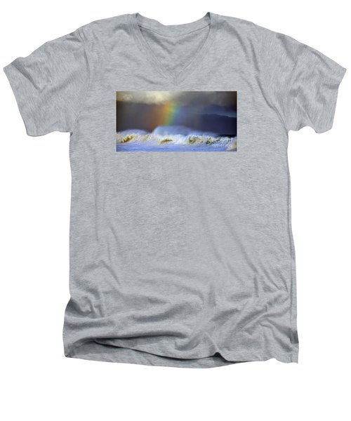 Men's V-Neck T-Shirt featuring the photograph Rainbow On The Banzai Pipeline At The North Shore Of Oahu 2 To 1 Ratio by Aloha Art