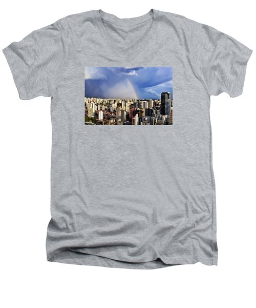 Rainbow Over City Skyline - Sao Paulo Men's V-Neck T-Shirt