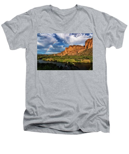 Men's V-Neck T-Shirt featuring the photograph Rainbow Over The Bulldogs  by Saija Lehtonen