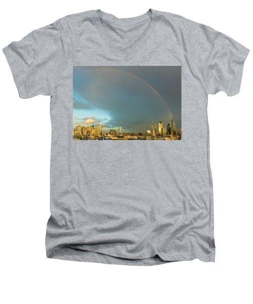 Rainbow Over The City Of London Men's V-Neck T-Shirt