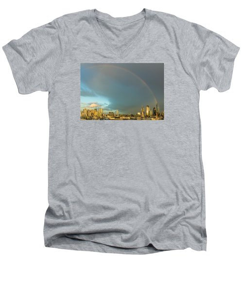 Rainbow Over The City Of London Men's V-Neck T-Shirt