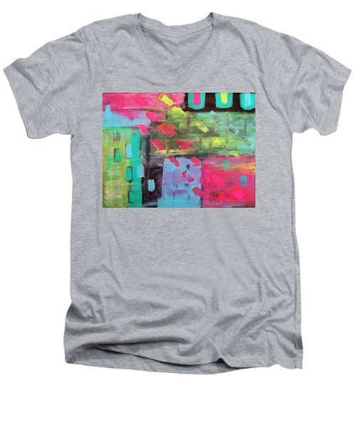 Rainbow Rain Men's V-Neck T-Shirt by Tamara Savchenko