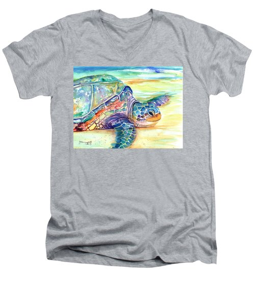 Rainbow Sea Turtle 2 Men's V-Neck T-Shirt