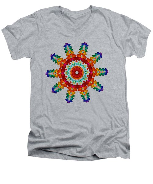 Rainbow Steampunk Sun Fractal Men's V-Neck T-Shirt