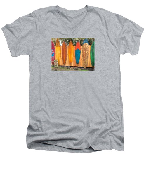 Surfboard Rainbow Men's V-Neck T-Shirt