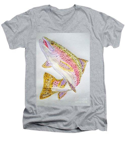 Rainbow Trout Presented In Colored Pencil Men's V-Neck T-Shirt by Scott D Van Osdol
