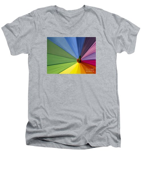 Men's V-Neck T-Shirt featuring the photograph Rainbow Umbrella by Inge Riis McDonald