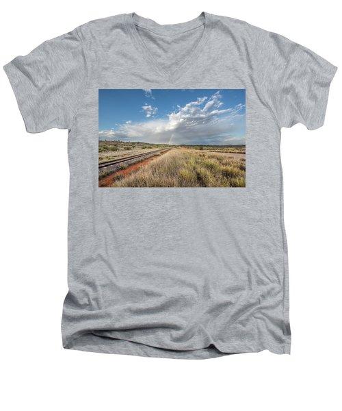 Rainbows Over Ghan Tracks Men's V-Neck T-Shirt