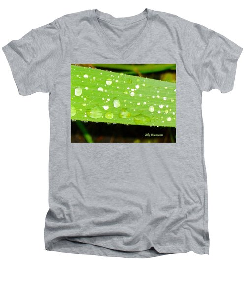 Raindrops On Leaf Men's V-Neck T-Shirt