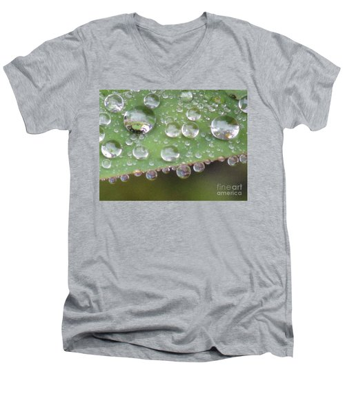 Raindrops On Leaf. Men's V-Neck T-Shirt