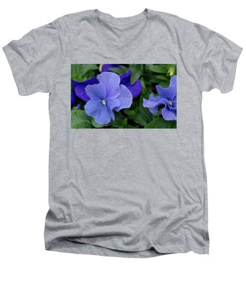 Raindrops On Purple Pansy Men's V-Neck T-Shirt