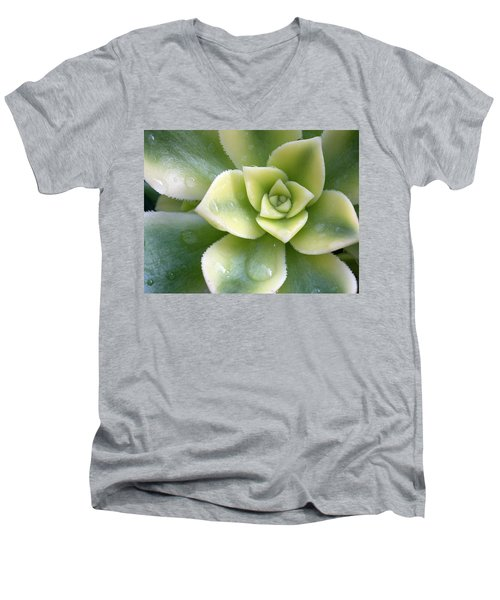 Men's V-Neck T-Shirt featuring the photograph Raindrops On The Succulent by Elvira Butler