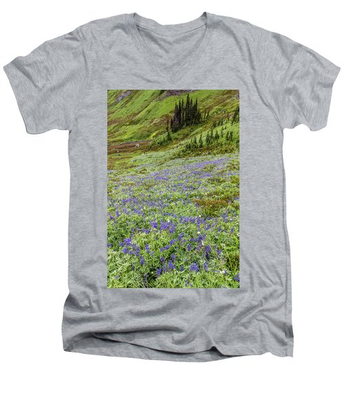 Men's V-Neck T-Shirt featuring the photograph Rainier Alpine Wildflowers by Pierre Leclerc Photography
