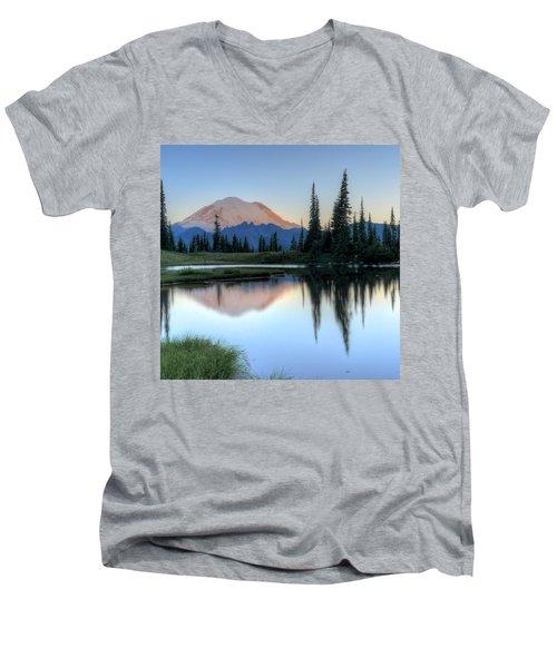 Rainier From Tipsoo Men's V-Neck T-Shirt by Peter Mooyman
