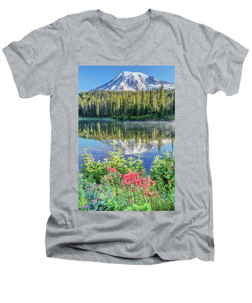 Rainier Wildflowers At Reflection Lake Men's V-Neck T-Shirt by Pierre Leclerc Photography
