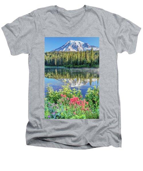Rainier Wildflowers At Reflection Lake Men's V-Neck T-Shirt