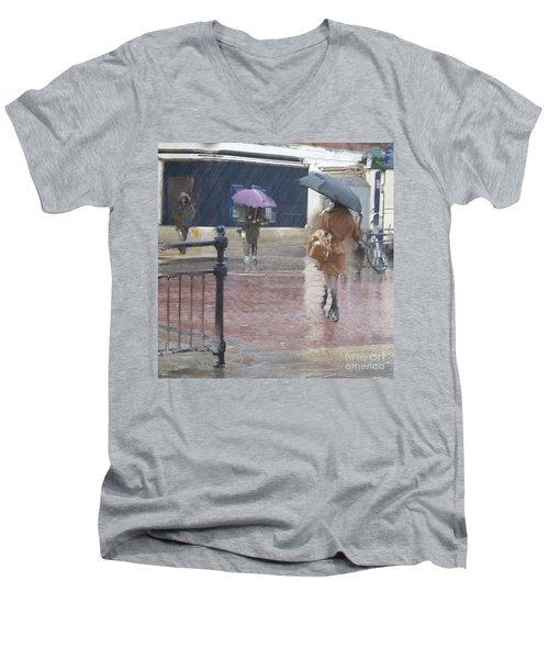 Men's V-Neck T-Shirt featuring the photograph Raining All Around by LemonArt Photography