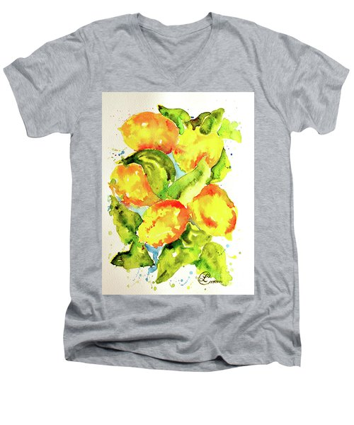 Rainwashed Lemons Men's V-Neck T-Shirt by Lynda Cookson