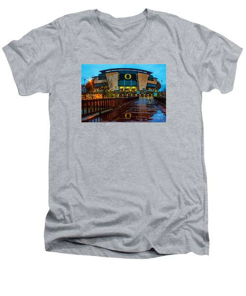 Rainy Autzen Stadium Men's V-Neck T-Shirt by Michael Cross