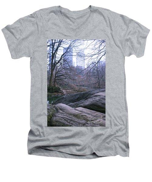 Rainy Day In Central Park Men's V-Neck T-Shirt by Sandy Moulder