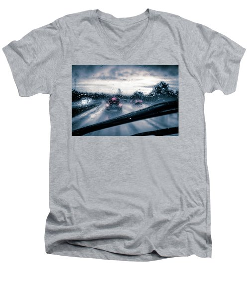 Men's V-Neck T-Shirt featuring the photograph Rainy Day In July by David Sutton