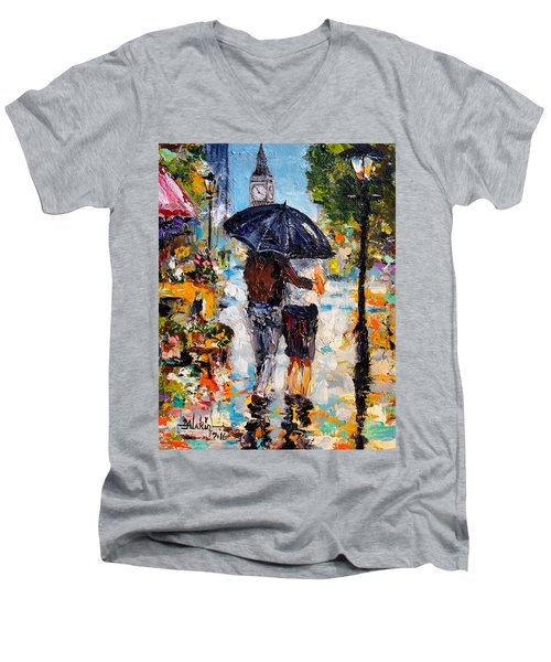 Rainy Day In Olde London Town Men's V-Neck T-Shirt