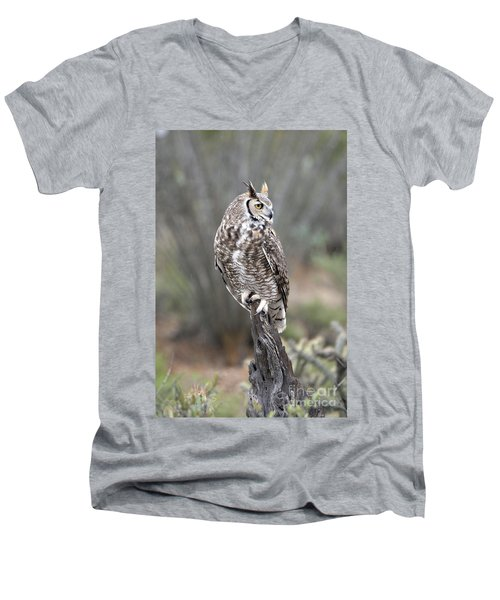 Rainy Day Owl Men's V-Neck T-Shirt