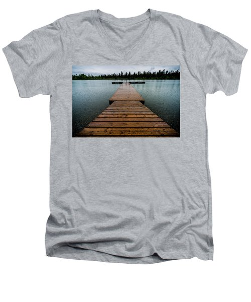 Men's V-Neck T-Shirt featuring the photograph Rainy Dock by Darcy Michaelchuk