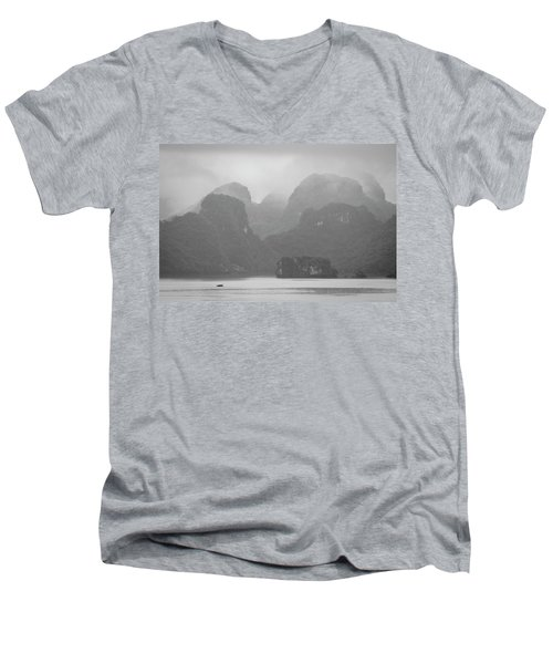 Men's V-Neck T-Shirt featuring the photograph Rainy Ha Long Bay, Ha Long, 2014 by Hitendra SINKAR