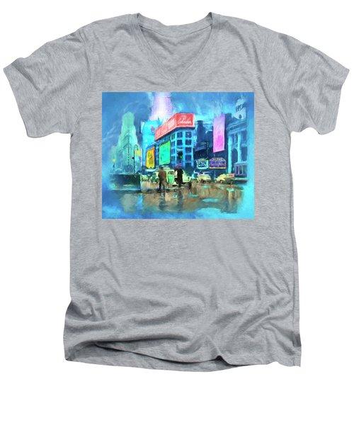Rainy Night In New York Men's V-Neck T-Shirt by Michael Cleere